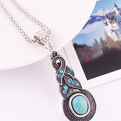 A&C Fashion Bohemia Turquoise Necklace for Women. Unique Alloy Necklace for Girl.
