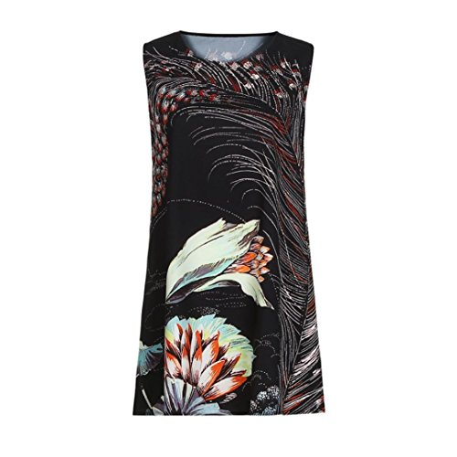 Clearance ! Liquidation! Auwer Vintage Boho Beach Dress, Women Loose Summer Sleeveless 3d Floral Print Bohe Tank Mini Dress Black 1 Auwer Boho Robe De Plage Vintage, Les Femmes Sans Manches Été Lâche 3d Réservoir Bohe Imprimé Floral Mini-robe Noire 1