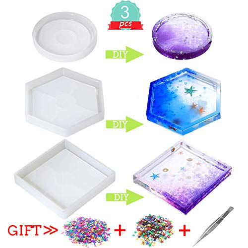 YLIANG Silicone Coaster Resin Molds 3 Pack, Epoxy Casting DIY Molds Including Round, Hexagon and Square Mold for Resin, Concrete, Home Decoration, with Sequins and Tweezers