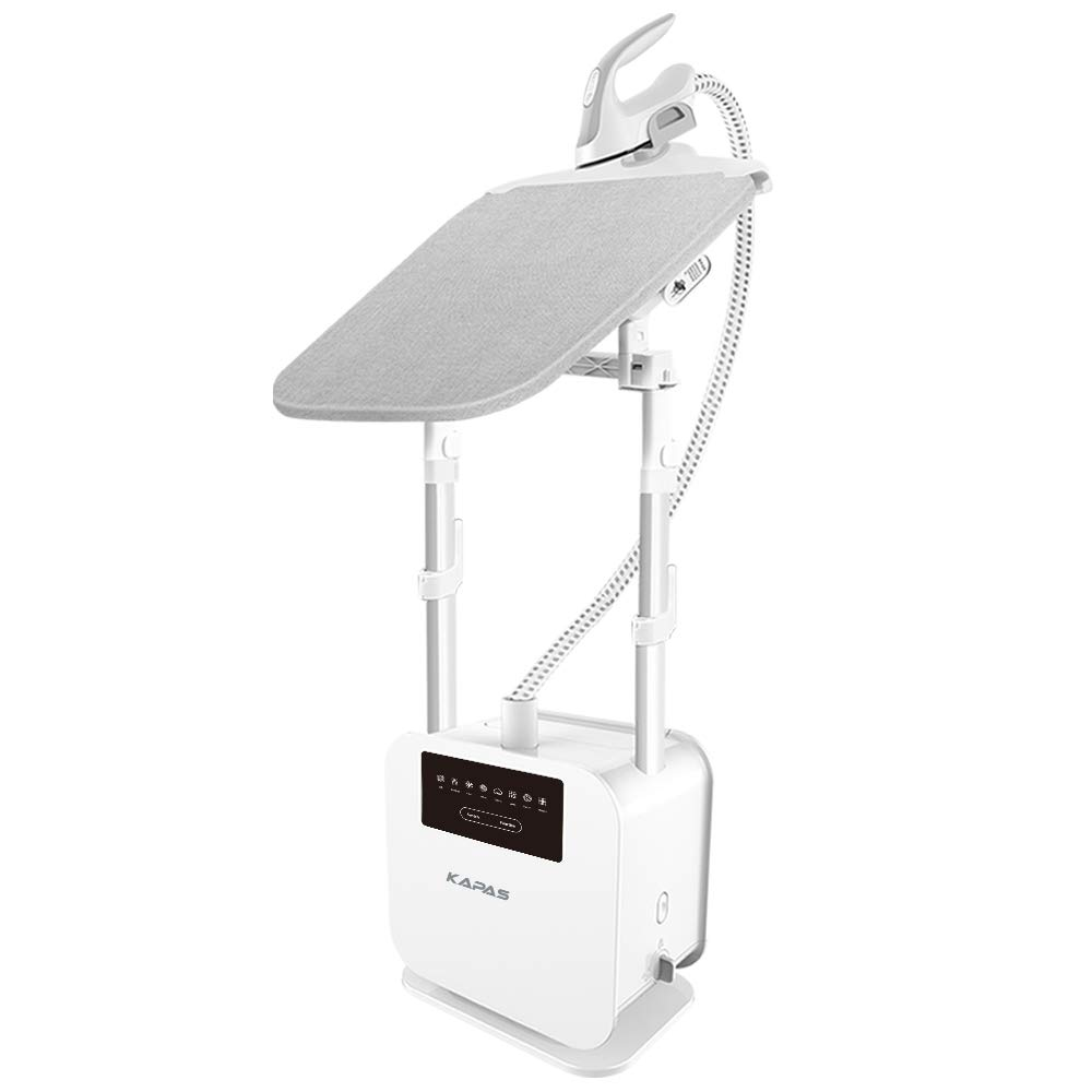 KAPAS Adjustable Garment Steamer Accessories for Clothes, Build-in Rotatable Ironing Board, 2.1L Water Tank, 8 Ironing Options for Different Clothes