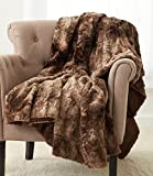 "Pinzon Faux Fur Throw Blanket 63"" x 87"", Alpine Brown"