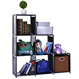 Waterproof 6-Cube Closet Organizer Shelves Storage Cubes Organizer Cabinet Bookcase - For Living Room Bedroom Office - Black