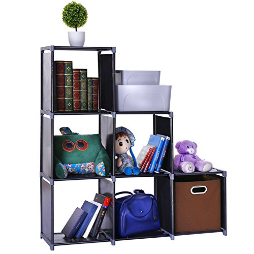 Waterproof 6-Cube Closet Organizer Shelves Storage Cubes Organizer Cabinet Bookcase - For Living Room Bedroom Office - Black by Hoomele