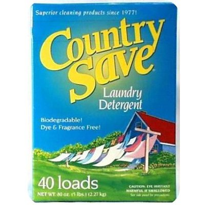 Country Powdered Detergent Save - Country Save Biodegradable Non Toxic Fragrance Free Laundry Detergent Powder for Cold and Warm Washing in HE and Regular Machines - 5 lb (80 oz)