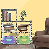 Adjustable 3-Tier 5-Cube Bookshelf, Home Closet Organizer Bookcase for Living Room Bedroom Kids Room