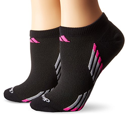 Adidas Women's Climacool X III No Show Socks (2 Pack), Black/Shock Pink/Light Onyx/Onyx, One Size
