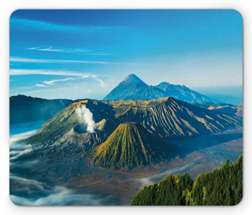 Volcano Mouse Pad by Lunarable, Mount Bromo Volcano During Sunrise in East Java Indonesia Majestic Nature, Standard Size Rectangle Non-Slip Rubber Mousepad, Sky Blue Green White - Sun Java Workstation
