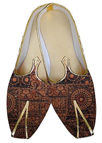 INMONARCH Herren Braun Hochzeit Schuhe Geometrische Muster MJ015603