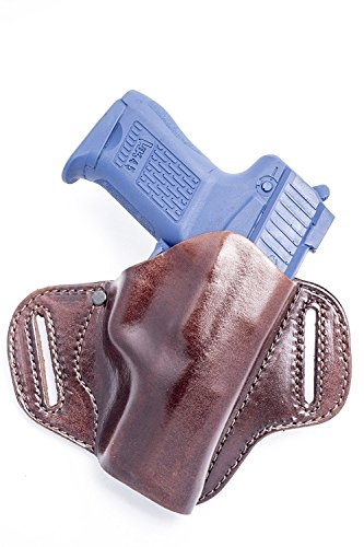 OutBags USA LP8SR (Brown-Right) Full Grain Heavy Leather OWB Open Carry Pancake, Side Carry Belt Holster for Ruger SR9 9mm, SR40 .40S&W Full Size Only. Handcrafted in USA.