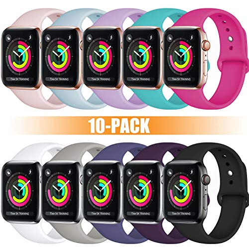 Rabini Band Compatible with Apple Watch 40mm 38mm, Replacement Accessory Sport Band for iWatch 40mm 38mm, 10 Pack, S/M
