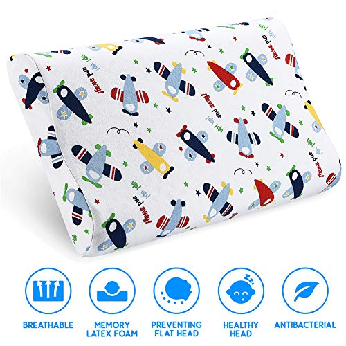 (Kids Toddler Pillow- Kids Pillows for Sleeping- Children's Latex Memory Foam Pillow with Organic Cotton Pillowcase for Baby Boys Girls Age 1-8 Years Old)
