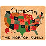 Lindsey Lou Patterns Custom Cork Board Map of United States, Navy Text