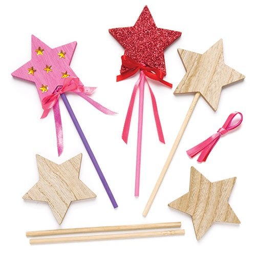 Baker Ross Decorate Your Own Wooden Star (Pack of 6) Magic Fairy Wand Princess Toys for Kids to Personalise