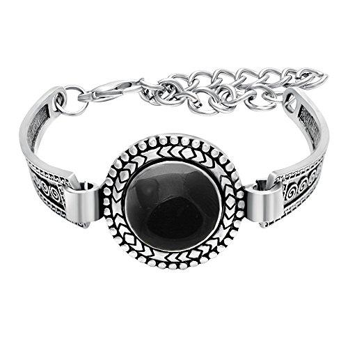 SENFAI Carved Tibet Silver Simulated Gemstone Vintage Bangle Bracelet 8