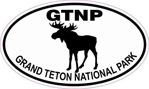 StickerTalk Moose Oval Grand Teton National Park Vinyl Sticker, 5 inches by 3 inches (Teton Sticker National Park)