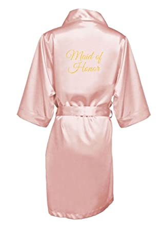 2b204b5774 GirlEO Women s Satin Bridal Party Robe with Maid of Honor Title in ...