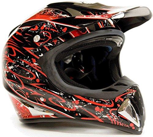 Typhoon Helmets Adult Off Road Dirt Bike ATV Motocross Helmet - DOT Rated - Red Splatter ( Small ) (Atv Helmets For Adults Small)