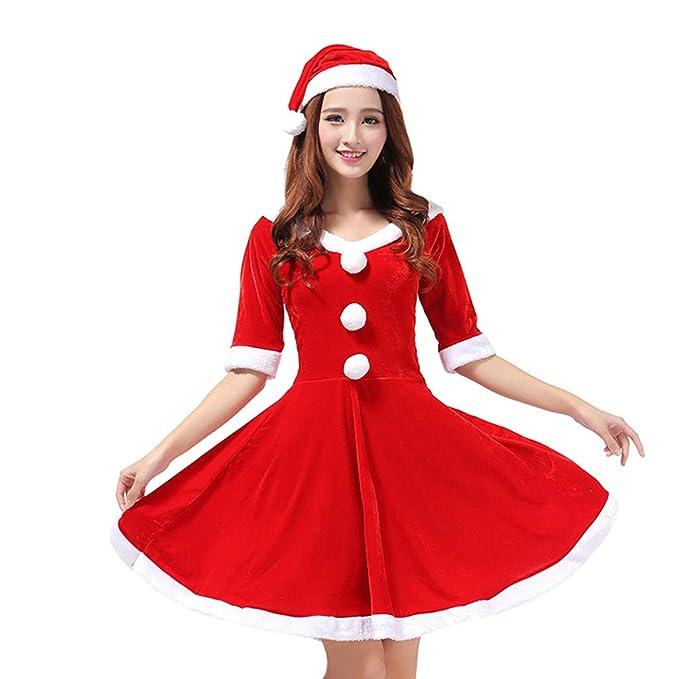 b65c4dd3afbf NIUQY Natale Donna Costumi per Carnevale Feste Costume da Babbo Natale  Donna Costume di Natale Show Adulto Natale Costume Natale Costume Set  Costume: ...