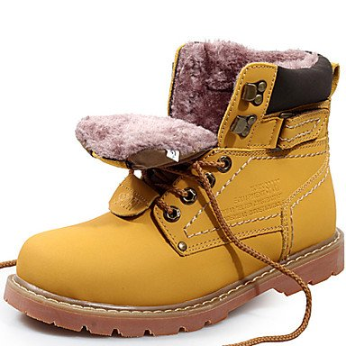 Botas Unisex primavera otoño invierno par de zapatos de cuero de vaca oficina exterior &Carrera atléticos casual trabajo &marrón amarillo de luz de seguridad Light Brown