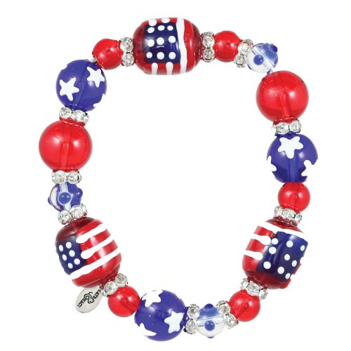 Clementine Design Kate & Macy All for America Bracelet Painted Glass Beads - Macy America