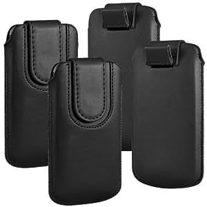 Online-Gadgets UK - paquete doble - Tire Huawei Ascend G6 botón magnético PU Leather Case Tab caso de la cubierta de protección - Negro