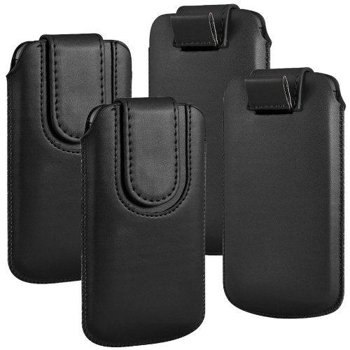 N4U Online - Paquet Double - Apple Iphone 5C bouton magnétique PU cuir Pull Tab protection étui couverture de peau - Noir