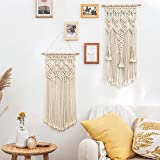 Mkono 2 Pcs Macrame Woven Wall Hanging Boho Home