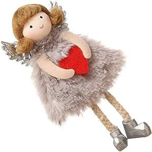 Amosfun Muñeca de peluche con diseño de ángel guardianero, oración, muñeca de ángel, colgante de peluche, color gris