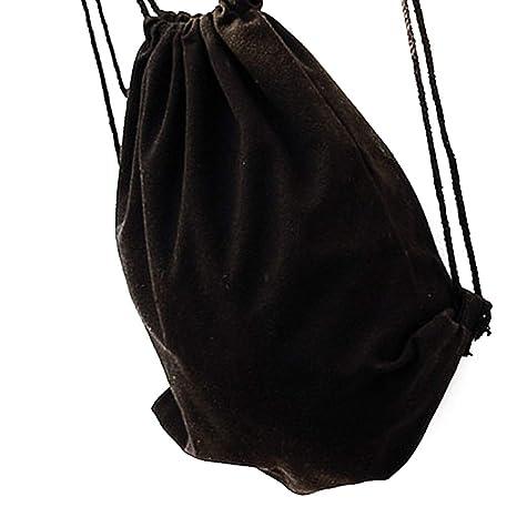 Las Mujeres Hechas a Mano Mochila de Lona de la Cuerda de Sellado Bolsos de Hombro del Color sólido con cordón Bolsos Regard: Amazon.es: Hogar