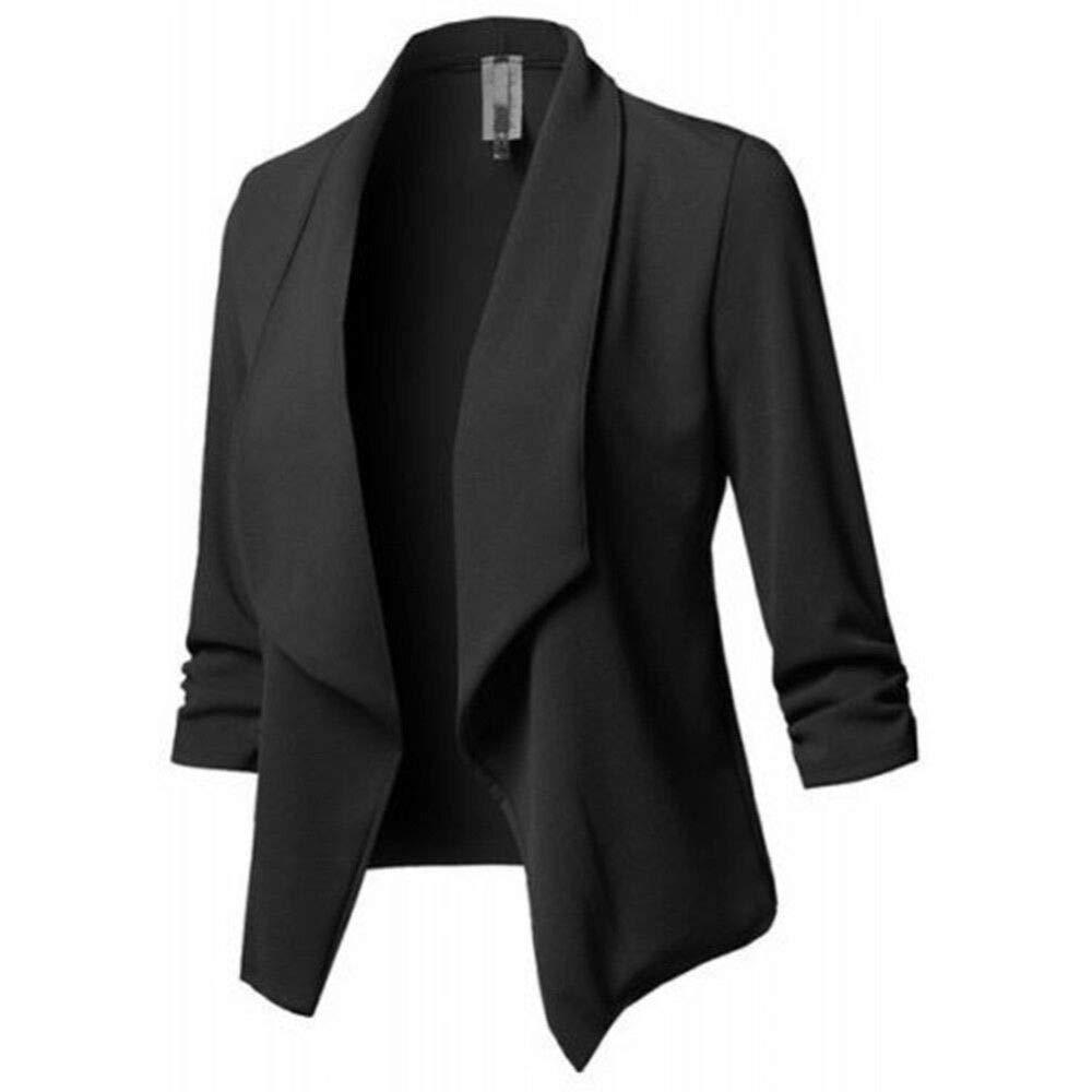Black Women Casual Blazer Slim Suit Business Blazer Open Front Cardigan Coat with Long Sleeve Work Office Jacket Cardigan Outwear XL