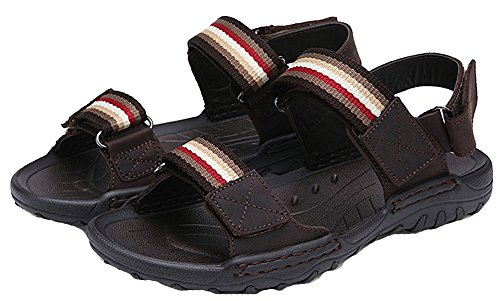 and Casual 2 Strap Outdoor Shoes Hook Water Brown Sandals Stripes Loop Beach Mens zqw0Cq