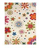 Area Rug, Beige Kids Daisy Flowers Soft Wool Carpet, 7' 6
