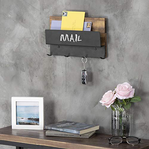 MyGift Rustic Wood & Black Metal Chalkboard Letter Holder with 4-Key Hooks by MyGift (Image #1)