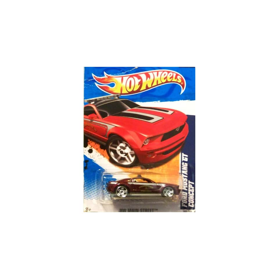 2011 Hot Wheels FORD MUSTANG GT CONCEPT HW MAIN STREET 2 of 10, #162 dark red maroon grandview fire dept