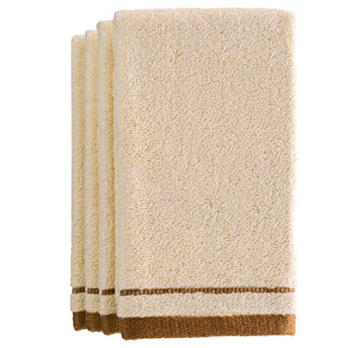 Creative Scents Cotton Fingertip Towels Set - 4 Pack - 11 x 18 Inches Decorative Extra-Absorbent and Soft Terry Towel for Bathroom - Powder Room, Guest and Housewarming Gift (Cream and Brown) ()