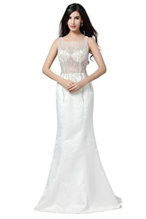 HarveyBridal Womens Luxury Beaded Sheer top Mermaid White Prom Dresses