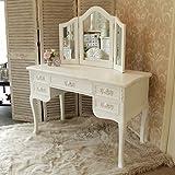 Melody Maison Pays Blanc Coiffeuse à l'ancienne avec table burea...