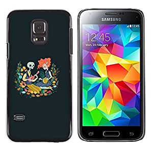 Shell-Star Arte & diseño plástico duro Fundas Cover Cubre Hard Case Cover para Samsung Galaxy S5 Mini / Samsung Galaxy S5 Mini Duos / SM-G800 !!!NOT S5 REGULAR! ( Skull Redhead Girl Drawing Blue Spring )
