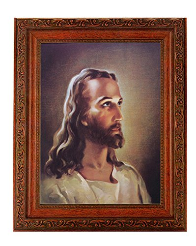 "Sallman Head of Christ Print in a Fine Detailed Ornate Antiqued Mahogany Finished 10.25"" X 12"" Frame"