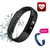 Fitness Tracker Smart Bracelet HR With Heart Rate - Sleep Monitor Wristband - Waterproof Watch - Pedometer - Track Step - Activity - Calorie - Call - SMS Alert - Sedentary Reminder for iPhone IOS and Android