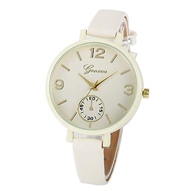 DressLksnf_Reloj Moda para Mujer Pulsera del Reloj Metal Durable Brazalete de Reloj Bonito Cadena de Cuero Elegante Superficie Color Puro Original: ...