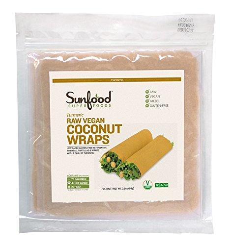 Sunfood Coconut Wraps - Turmeric - Raw, Vegan, Paleo, 7ct