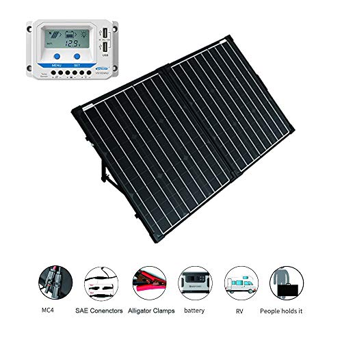 ACOPOWER 12V Portable 100 Watts Solar Panel Kit Suitcase with LCD Charge Controller 100W w LCD Controller