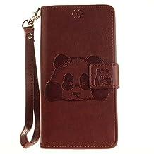 DOOGEE X5 Case, Doogee X5 Pro Case, COOSTOREEU Cute Cartoon Pattern Panda PU Leather Wallet Stand Flip Case Cover for DOOGEE X5 / Doogee X5 Pro, Coffee