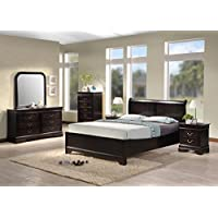 Best Quality Furniture B81QSet Bedroom Set, Queen, Cappuccino
