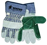 MCR Safety 1911L Bull's Double Cow Leather Palm Men's Gloves with 2-3/4-Inch Safety Cuffs, Natural Pearl, Large, 1-Pair