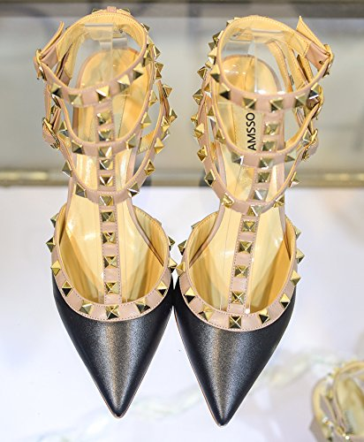 Heels Black Court Mid CAMSSOO Toe Rivets Beige Strappy Sandals Trim Matte Studded Women's Party Stiletto Gold Wedding Shoes Studs Pointed 8wf6q