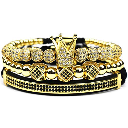 Imperial Crown King 18 K Gold Beads Bracelet Luxury Charm Fashion Jewelry - Bracelet Tube Gold