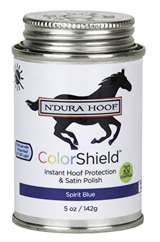 ColorShield Instant Hoof Protection & Polish. Color: SPIRIT BLUE. Hardens in 60 Seconds with UV Light (Included). Rich Color & Protection. Safe, Removable. Lasts up to 2 Wks. 5 Oz - Colorshield