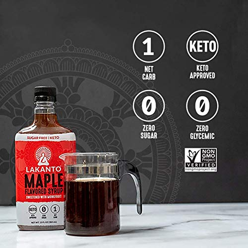 Lakanto Maple Flavored Sugar-Free Syrup, 1 Net Carb (Maple Syrup, 13 oz) 384ml